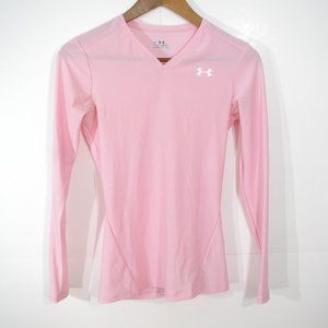 Under Armour Long Sleeve Compression T-Shirt Size M Light Pink V-Neck Heat Gear
